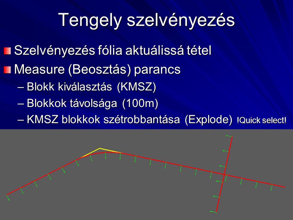 Tengely szelvényezés Szelvényezés fólia aktuálissá tétel Measure (Beosztás) parancs –Blokk kiválasztás (KMSZ) –Blokkok távolsága (100m) –KMSZ blokkok szétrobbantása (Explode) !Quick select!