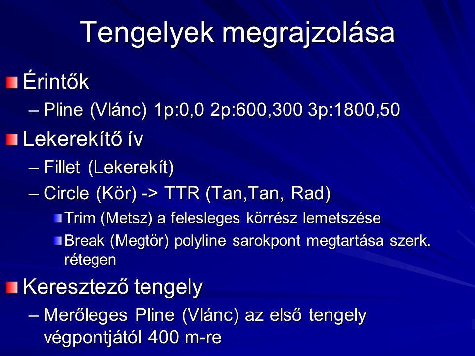 Tengelyek megrajzolása Érintők –Pline (Vlánc) 1p:0,0 2p:600,300 3p:1800,50 Lekerekítő ív –Fillet (Lekerekít) –Circle (Kör) -> TTR (Tan,Tan, Rad) Trim (Metsz) a felesleges körrész lemetszése Break (Megtör) polyline sarokpont megtartása szerk.
