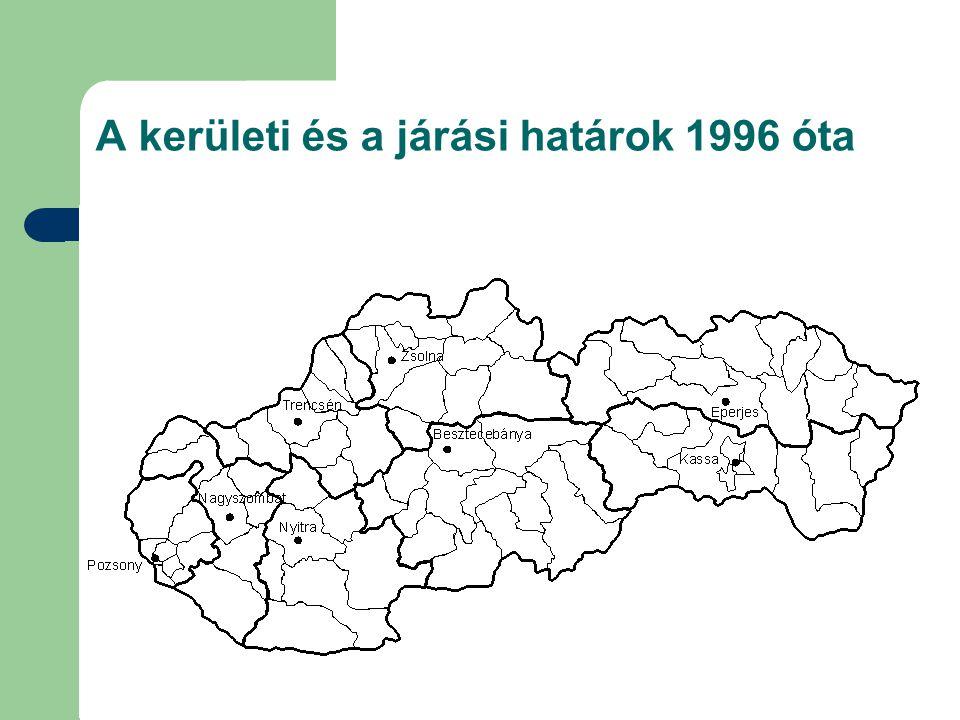 A kerületi és a járási határok 1996 óta