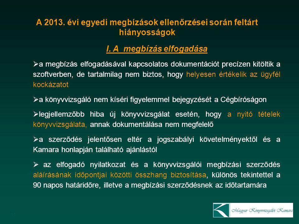 11 A 2013. évi egyedi megbízások ellenőrzései során feltárt hiányosságok I.