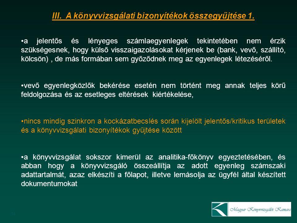 14 III. A könyvvizsgálati bizonyítékok összegyűjtése 1.