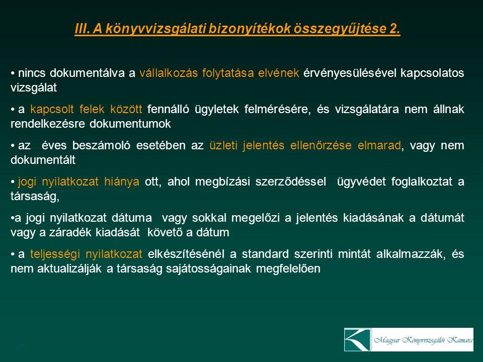 15 III. A könyvvizsgálati bizonyítékok összegyűjtése 2.