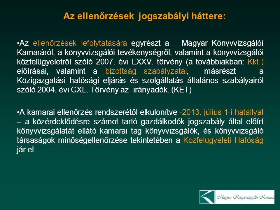 Az ellenőrzések jogszabályi háttere: Az ellenőrzések lefolytatására egyrészt a Magyar Könyvvizsgálói Kamaráról, a könyvvizsgálói tevékenységről, valamint a könyvvizsgálói közfelügyeletről szóló 2007.