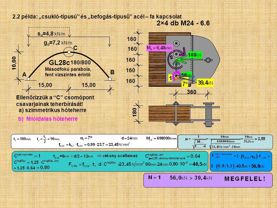 360 A B C Másodfokú parabola, fent vízszintes érintő g d =7,2 kN/m s d =4,8 kN/m 15,00 10,00 2×4 db M24 - 6.6 360 180 180/800 GL28c 160 Ellenőrizzük a C csomópont csavarjainak teherbírását.