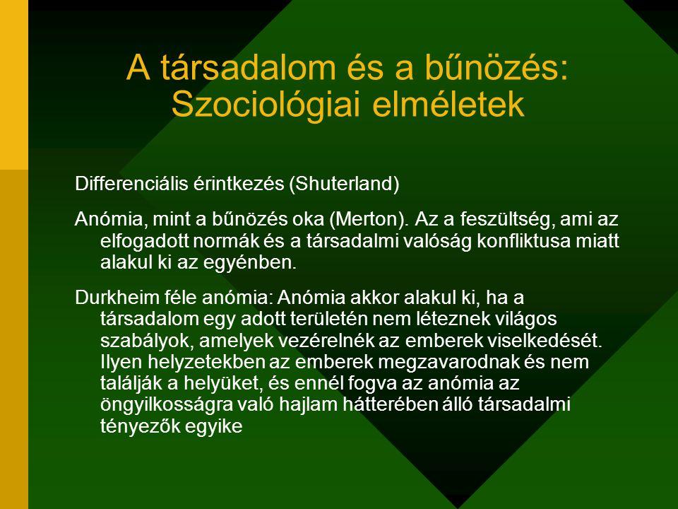 A társadalom és a bűnözés: Szociológiai elméletek Differenciális érintkezés (Shuterland) Anómia, mint a bűnözés oka (Merton). Az a feszültség, ami az