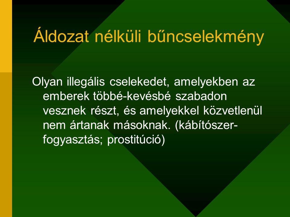 Áldozat nélküli bűncselekmény Olyan illegális cselekedet, amelyekben az emberek többé-kevésbé szabadon vesznek részt, és amelyekkel közvetlenül nem ártanak másoknak.