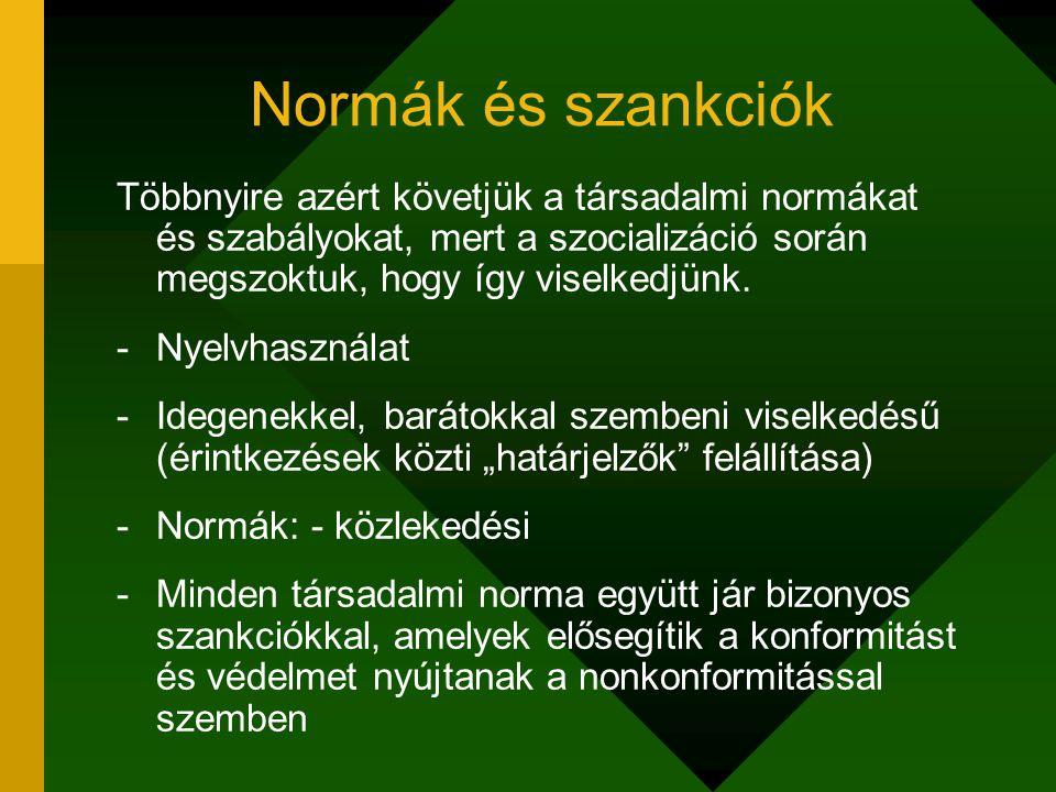 Normák és szankciók Többnyire azért követjük a társadalmi normákat és szabályokat, mert a szocializáció során megszoktuk, hogy így viselkedjünk. -Nyel