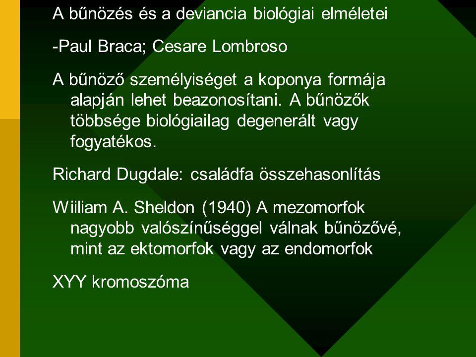 A bűnözés és a deviancia biológiai elméletei -Paul Braca; Cesare Lombroso A bűnöző személyiséget a koponya formája alapján lehet beazonosítani. A bűnö