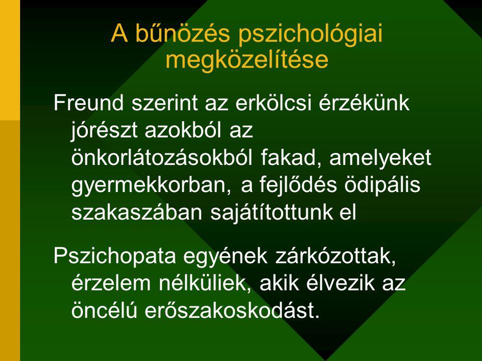 A bűnözés pszichológiai megközelítése Freund szerint az erkölcsi érzékünk jórészt azokból az önkorlátozásokból fakad, amelyeket gyermekkorban, a fejlő