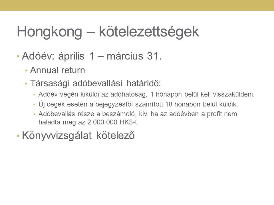 Hongkong – kötelezettségek Adóév: április 1 – március 31.