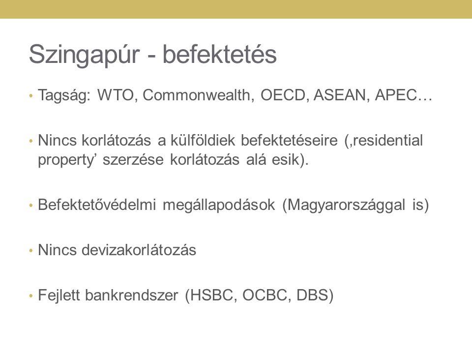 Szingapúr - befektetés Tagság: WTO, Commonwealth, OECD, ASEAN, APEC… Nincs korlátozás a külföldiek befektetéseire ('residential property' szerzése korlátozás alá esik).