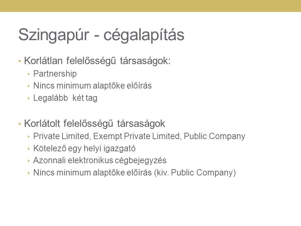 Szingapúr - cégalapítás Korlátlan felelősségű társaságok: Partnership Nincs minimum alaptőke előírás Legalább két tag Korlátolt felelősségű társaságok Private Limited, Exempt Private Limited, Public Company Kötelező egy helyi igazgató Azonnali elektronikus cégbejegyzés Nincs minimum alaptőke előírás (kiv.