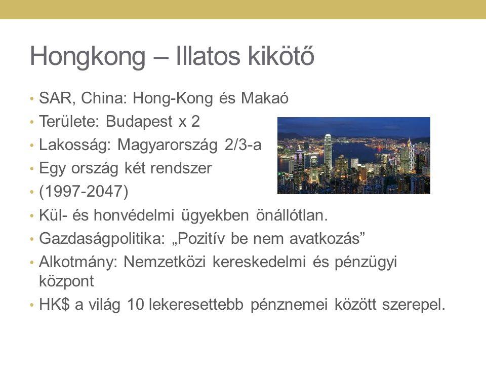 Hongkong – Illatos kikötő SAR, China: Hong-Kong és Makaó Területe: Budapest x 2 Lakosság: Magyarország 2/3-a Egy ország két rendszer (1997-2047) Kül- és honvédelmi ügyekben önállótlan.