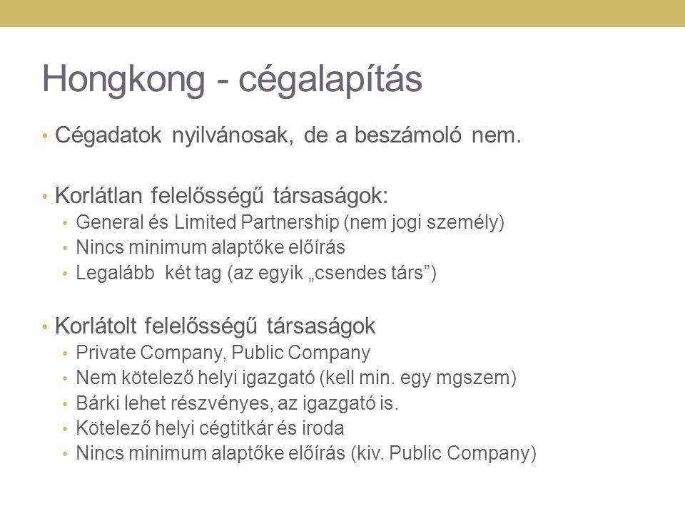 Hongkong - cégalapítás Cégadatok nyilvánosak, de a beszámoló nem.