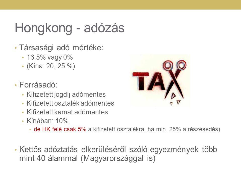 Hongkong - adózás Társasági adó mértéke: 16,5% vagy 0% (Kína: 20, 25 %) Forrásadó: Kifizetett jogdíj adómentes Kifizetett osztalék adómentes Kifizetett kamat adómentes Kínában: 10%, de HK felé csak 5% a kifizetett osztalékra, ha min.