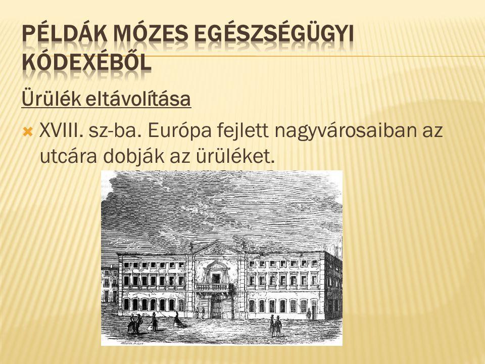 Ürülék eltávolítása  XVIII. sz-ba. Európa fejlett nagyvárosaiban az utcára dobják az ürüléket.