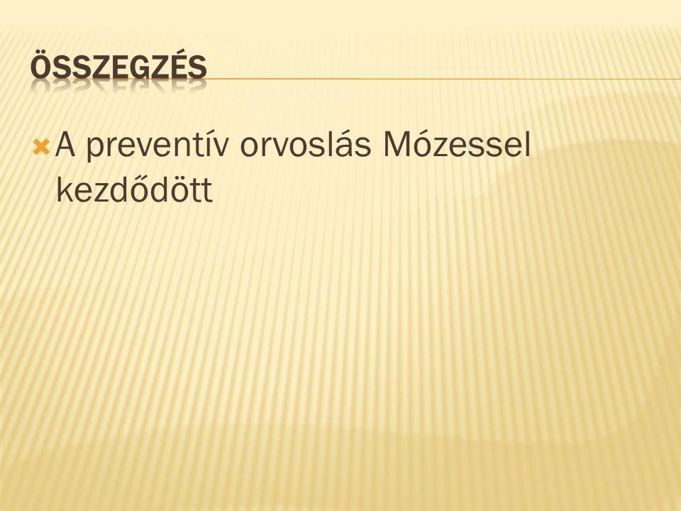  A preventív orvoslás Mózessel kezdődött