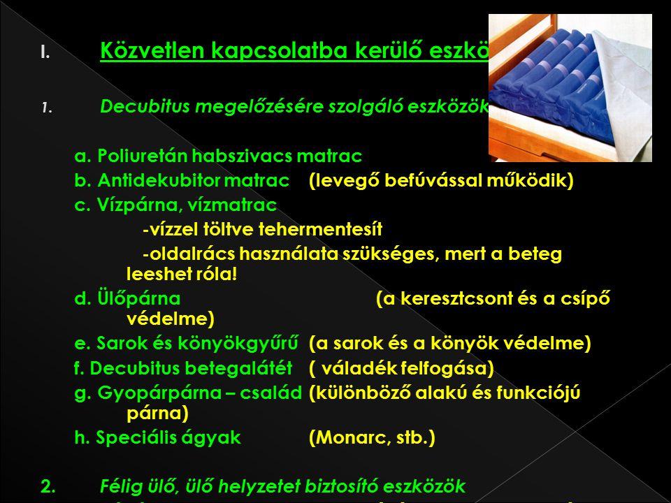 I. Közvetlen kapcsolatba kerülő eszközök 1. Decubitus megelőzésére szolgáló eszközök a. Poliuretán habszivacs matrac b. Antidekubitor matrac (levegő b