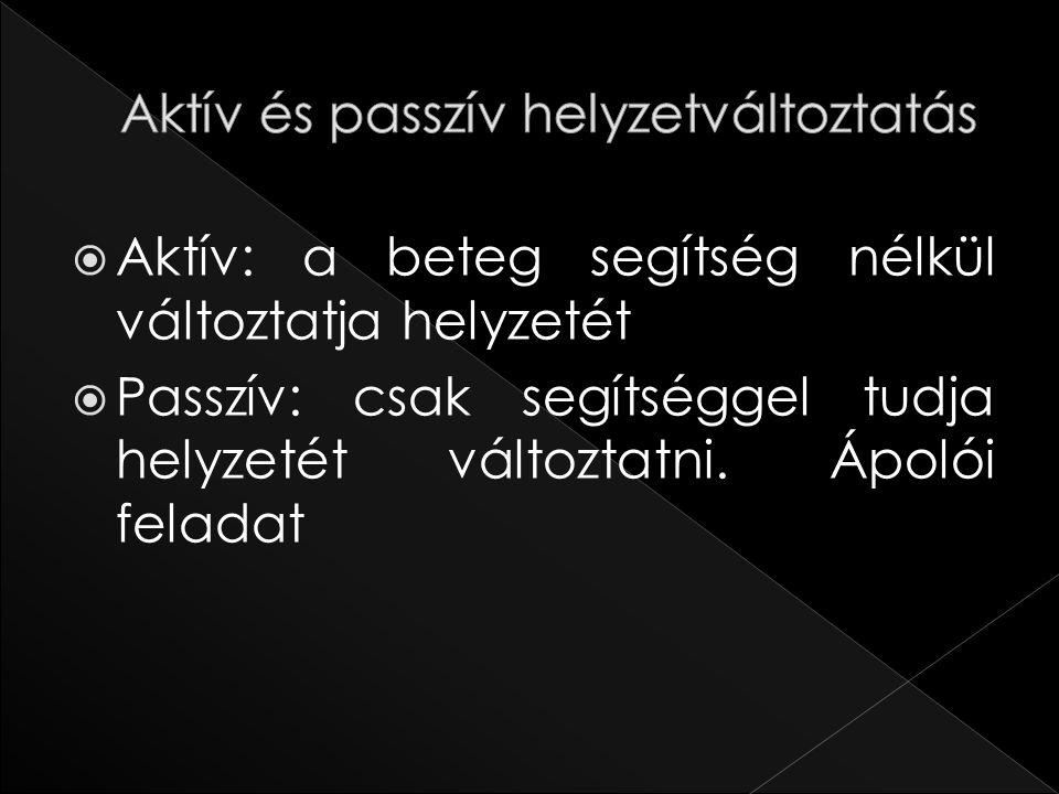  Aktív: a beteg segítség nélkül változtatja helyzetét  Passzív: csak segítséggel tudja helyzetét változtatni. Ápolói feladat