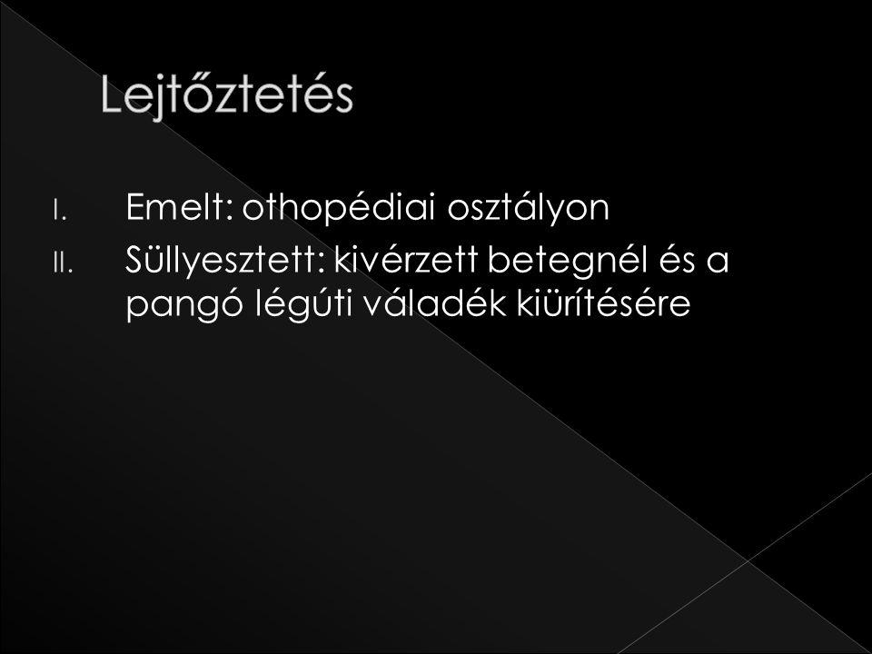 I. Emelt: othopédiai osztályon II. Süllyesztett: kivérzett betegnél és a pangó légúti váladék kiürítésére