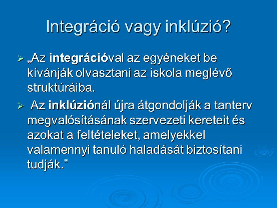 """Integráció vagy inklúzió?  """"Az integrációval az egyéneket be kívánják olvasztani az iskola meglévő struktúráiba.  Az inklúziónál újra átgondolják a"""