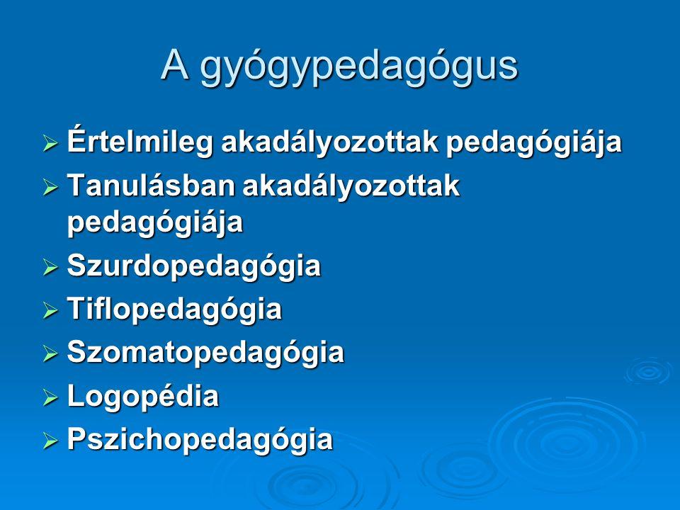 A gyógypedagógus  Értelmileg akadályozottak pedagógiája  Tanulásban akadályozottak pedagógiája  Szurdopedagógia  Tiflopedagógia  Szomatopedagógia  Logopédia  Pszichopedagógia
