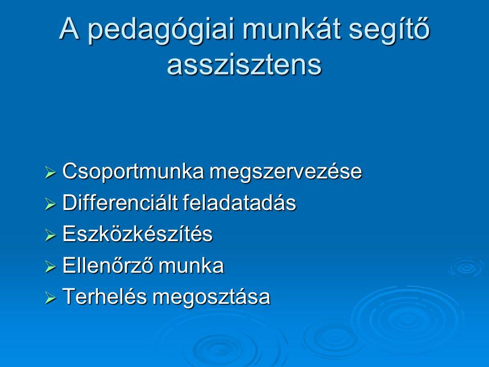 A pedagógiai munkát segítő asszisztens  Csoportmunka megszervezése  Differenciált feladatadás  Eszközkészítés  Ellenőrző munka  Terhelés megosztása