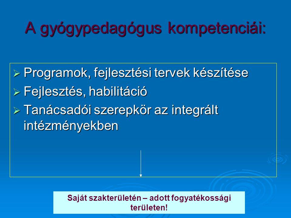 A gyógypedagógus kompetenciái:  Programok, fejlesztési tervek készítése  Fejlesztés, habilitáció  Tanácsadói szerepkör az integrált intézményekben