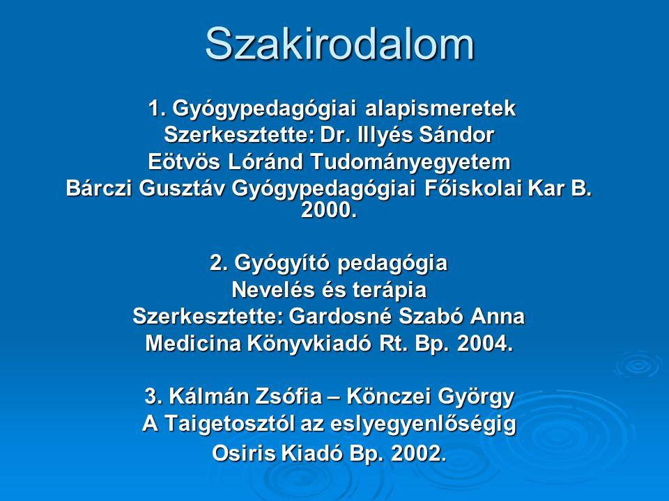Szakirodalom 1.Gyógypedagógiai alapismeretek 1. Gyógypedagógiai alapismeretek Szerkesztette: Dr.