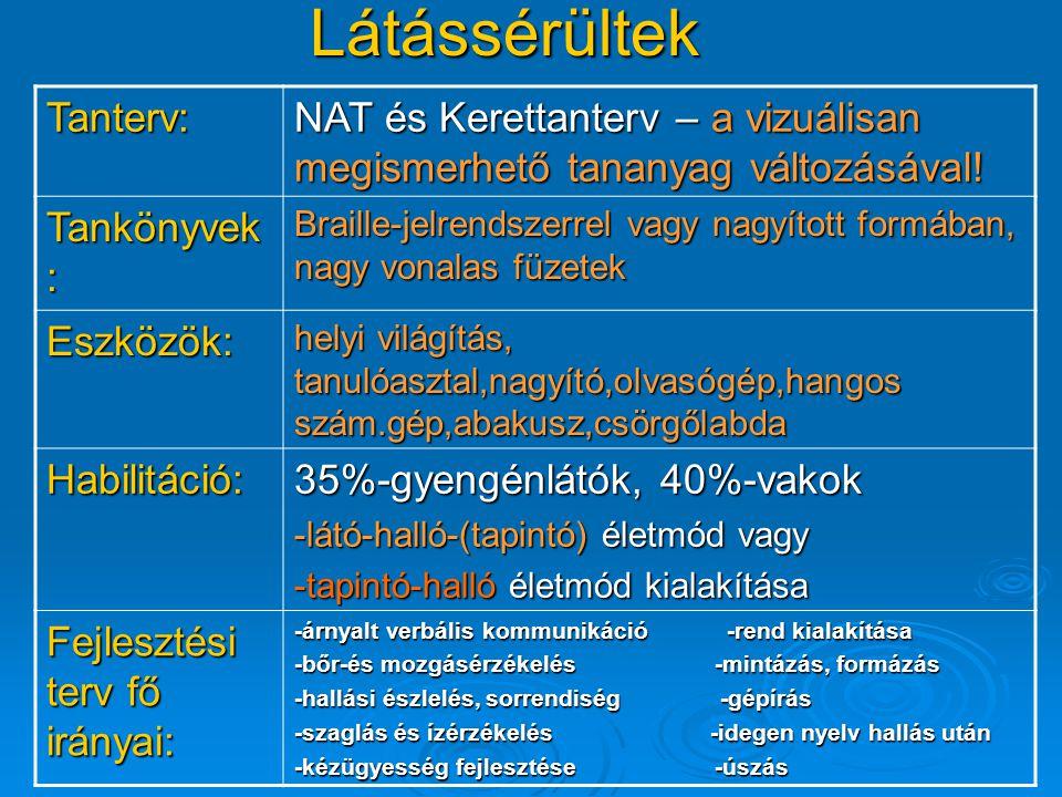 Látássérültek Tanterv: NAT és Kerettanterv – a vizuálisan megismerhető tananyag változásával! Tankönyvek : Braille-jelrendszerrel vagy nagyított formá
