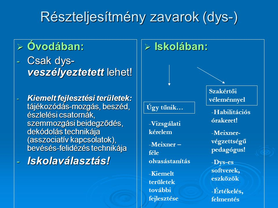 Részteljesítmény zavarok (dys-)  Óvodában: - Csak dys- veszélyeztetett lehet! - Kiemelt fejlesztési területek: tájékozódás-mozgás, beszéd, észlelési