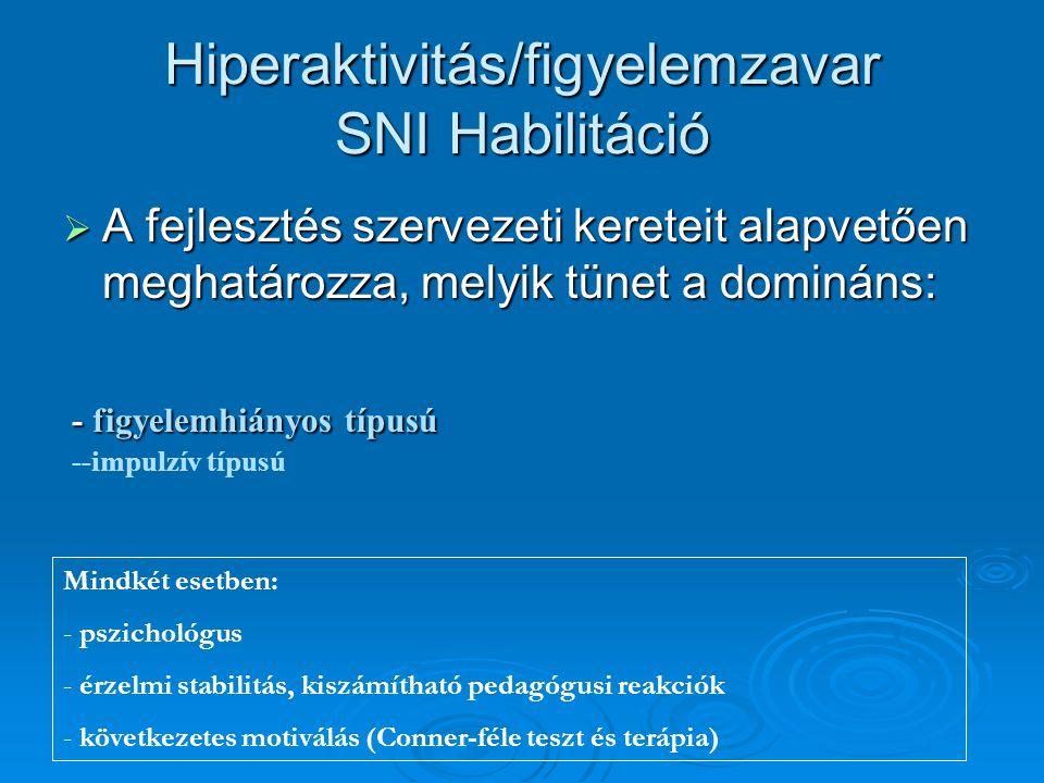 Hiperaktivitás/figyelemzavar SNI Habilitáció  A fejlesztés szervezeti kereteit alapvetően meghatározza, melyik tünet a domináns: - figyelemhiányos tí