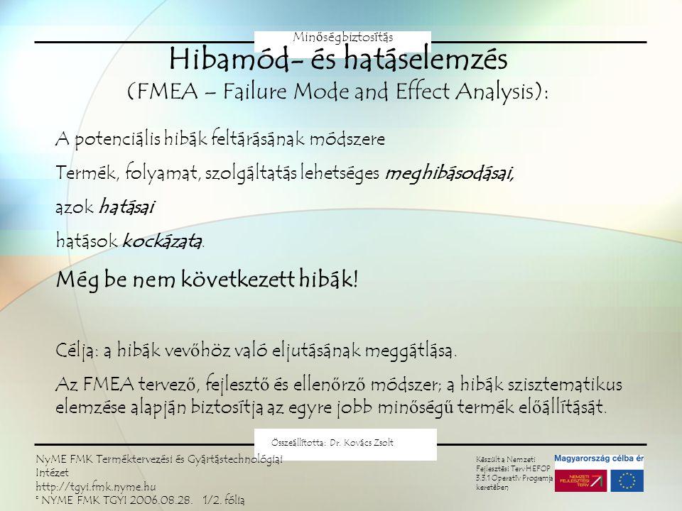 FMEA Minőségbiztosítás Készült a Nemzeti Fejlesztési Terv HEFOP 3.3.1 Operatív Programja keretében Összeállította: Dr. Kovács Zsolt NyME FMK Termékter
