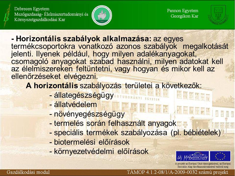 - Horizontális szabályok alkalmazása: az egyes termékcsoportokra vonatkozó azonos szabályok megalkotását jelenti. Ilyenek például, hogy milyen adaléka