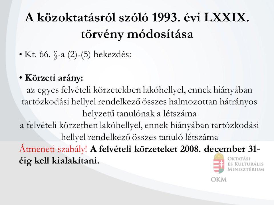 A közoktatásról szóló 1993. évi LXXIX. törvény módosítása Kt.
