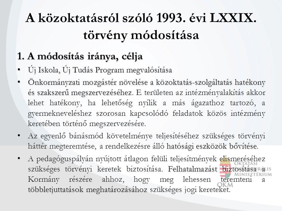 A közoktatásról szóló 1993. évi LXXIX. törvény módosítása 1.A módosítás iránya, célja 1.