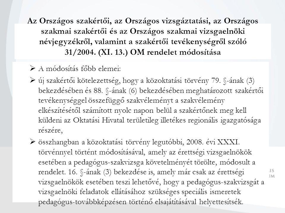 Az Országos szakértői, az Országos vizsgáztatási, az Országos szakmai szakértői és az Országos szakmai vizsgaelnöki névjegyzékről, valamint a szakértői tevékenységről szóló 31/2004.