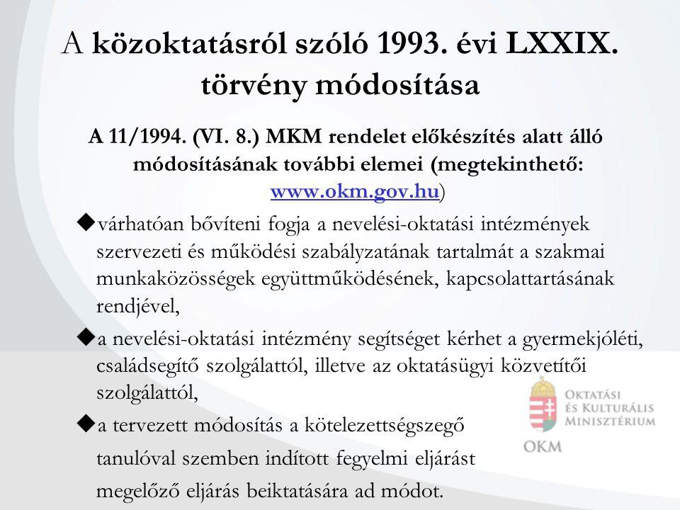 A közoktatásról szóló 1993. évi LXXIX. törvény módosítása A 11/1994.