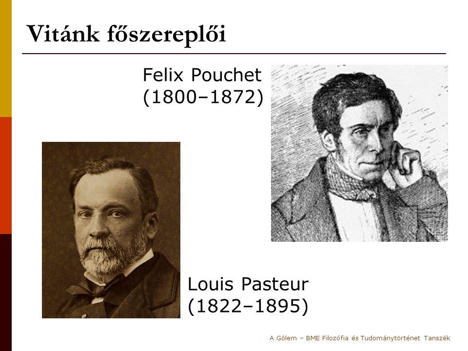 Felix Pouchet (1800–1872) Louis Pasteur (1822–1895) Vitánk főszereplői A Gólem – BME Filozófia és Tudománytörténet Tanszék