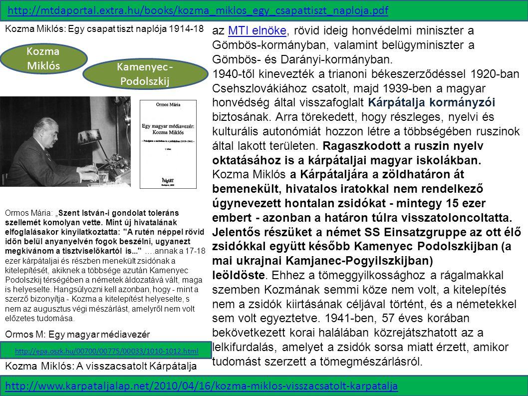 Kamenyec - Podolszkij Kozma Miklós az MTI elnöke, rövid ideig honvédelmi miniszter a Gömbös-kormányban, valamint belügyminiszter a Gömbös- és Darányi-