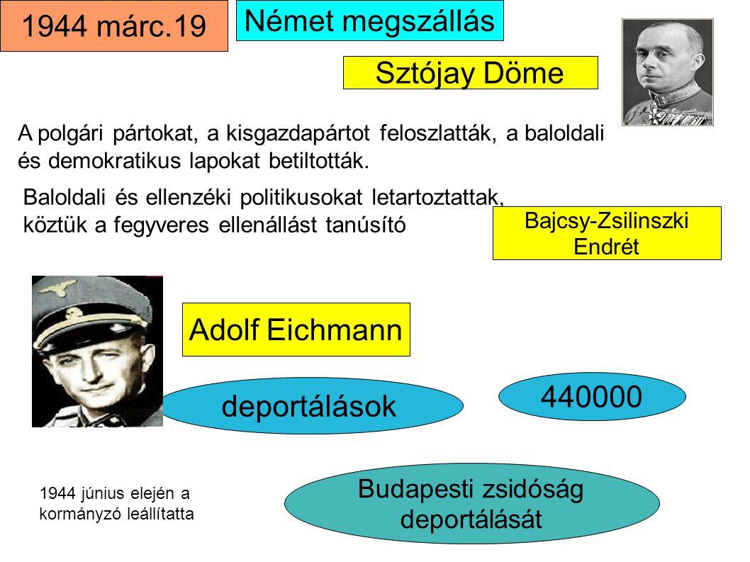 Német megszállás 1944 márc.19 deportálások 440000 Sztójay Döme Adolf Eichmann Budapesti zsidóság deportálását A polgári pártokat, a kisgazdapártot fel