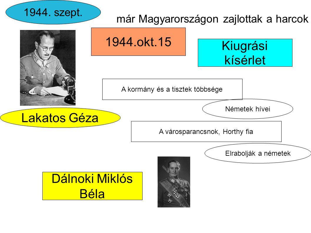 Kiugrási kísérlet már Magyarországon zajlottak a harcok Lakatos Géza 1944.okt.15 1944. szept. Dálnoki Miklós Béla Németek hívei A kormány és a tisztek