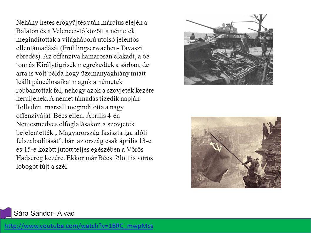 Néhány hetes erőgyűjtés után március elején a Balaton és a Velencei-tó között a németek megindították a világháború utolsó jelentős ellentámadását (Fr