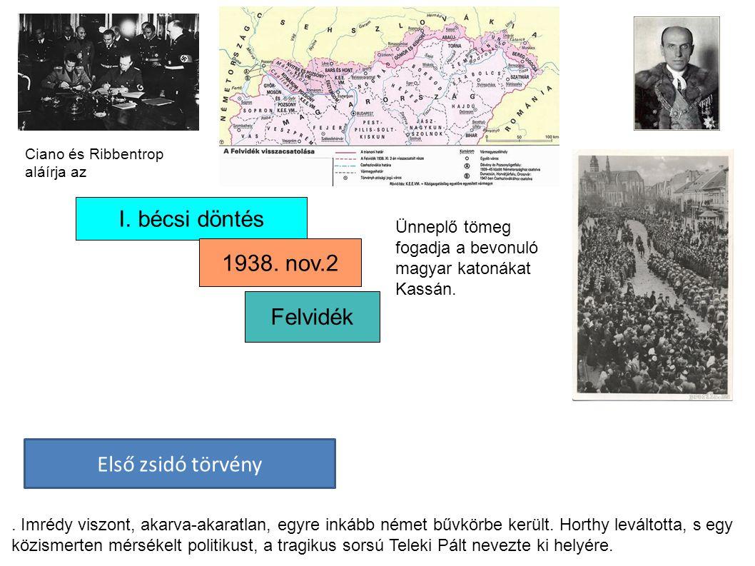 I. bécsi döntés 1938. nov.2 Felvidék Első zsidó törvény. Imrédy viszont, akarva-akaratlan, egyre inkább német bűvkörbe került. Horthy leváltotta, s eg