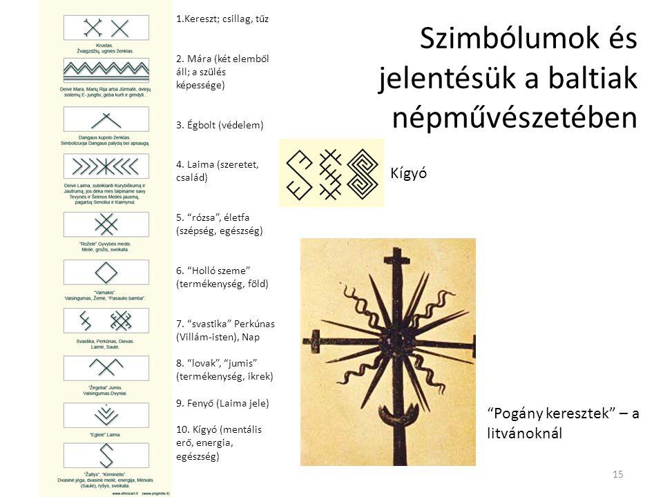 Szimbólumok és jelentésük a baltiak népművészetében Kígyó 1.Kereszt; csillag, tűz 2. Mára (két elemből áll; a szülés képessége) 3. Égbolt (védelem) 4.