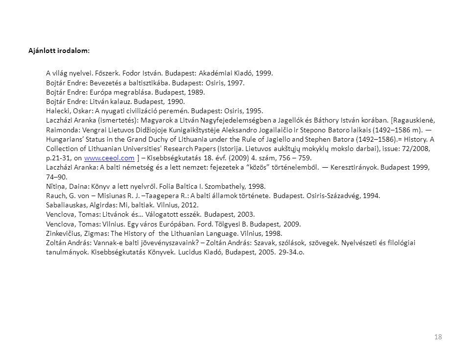 Ajánlott irodalom: A világ nyelvei. Főszerk. Fodor István. Budapest: Akadémiai Kiadó, 1999. Bojtár Endre: Bevezetés a baltisztikába. Budapest: Osiris,