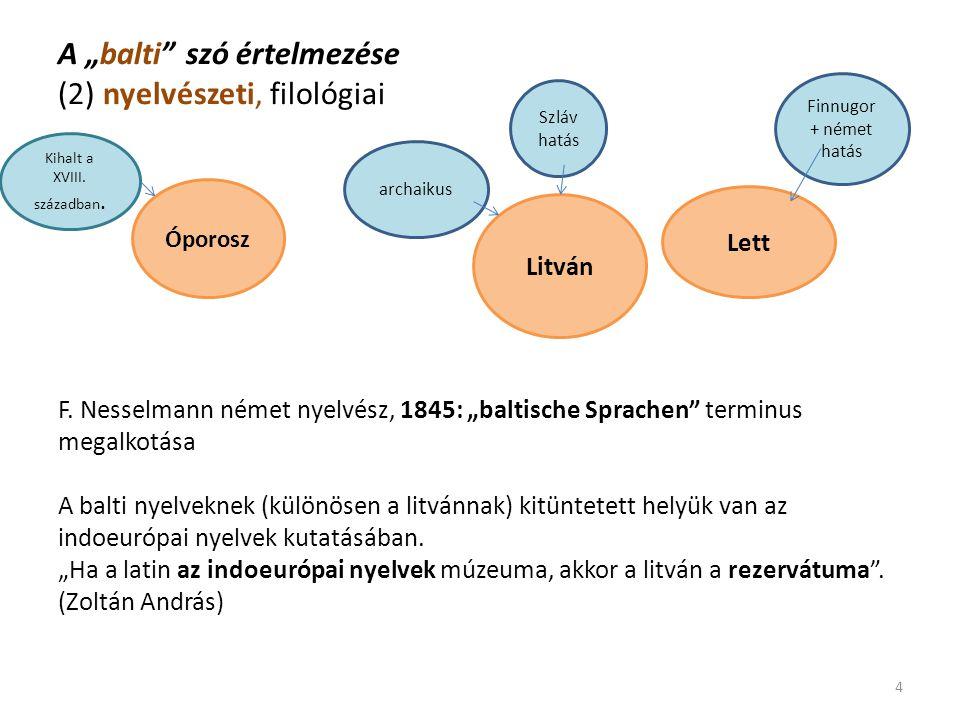 """A """"balti"""" szó értelmezése (2) nyelvészeti, filológiai F. Nesselmann német nyelvész, 1845: """"baltische Sprachen"""" terminus megalkotása A balti nyelveknek"""