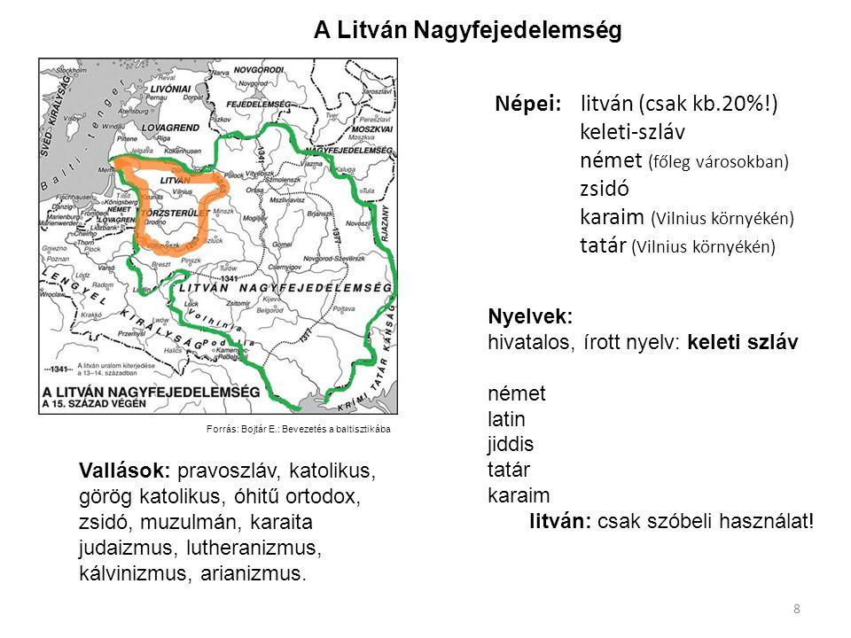 Népei: litván (csak kb.20%!) keleti-szláv német (főleg városokban) zsidó karaim (Vilnius környékén) tatár (Vilnius környékén) Forrás: Bojtár E.: Bevez