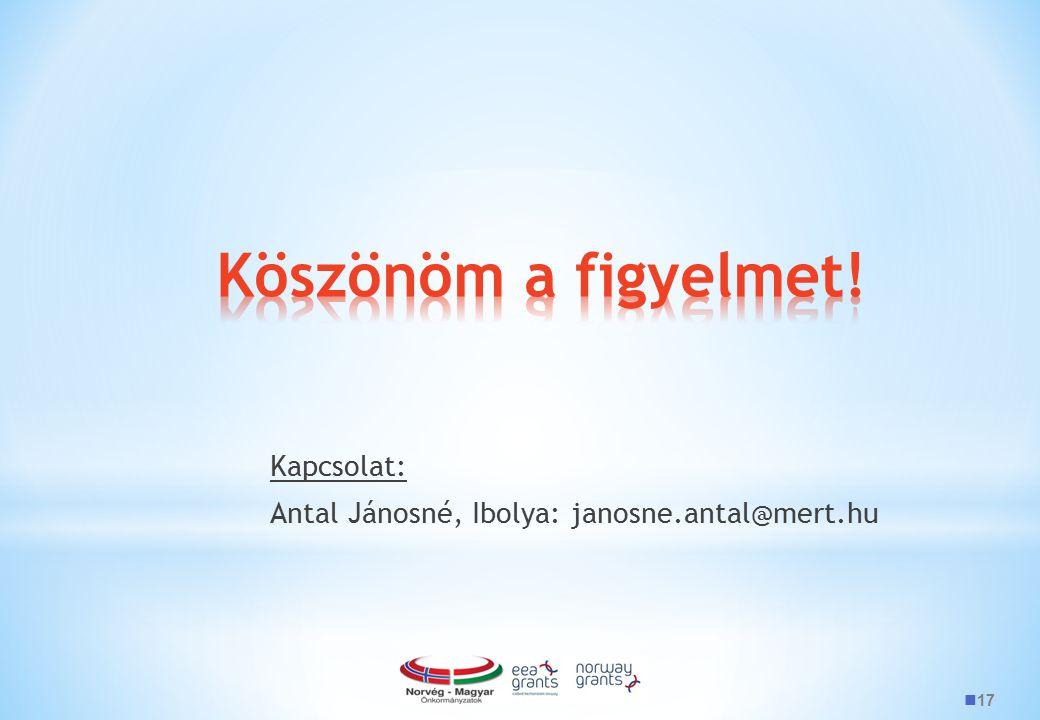 17 Kapcsolat: Antal Jánosné, Ibolya: janosne.antal@mert.hu