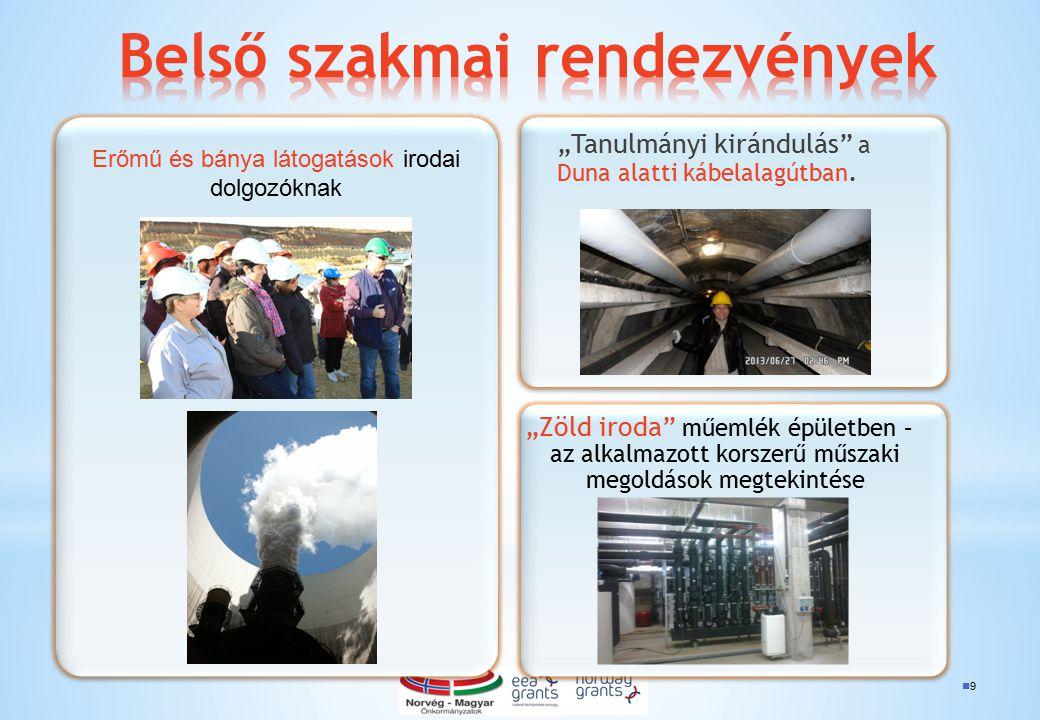 """9 """"Tanulmányi kirándulás"""" a Duna alatti kábelalagútban. """"Zöld iroda"""" műemlék épületben – az alkalmazott korszerű műszaki megoldások megtekintése Erőmű"""